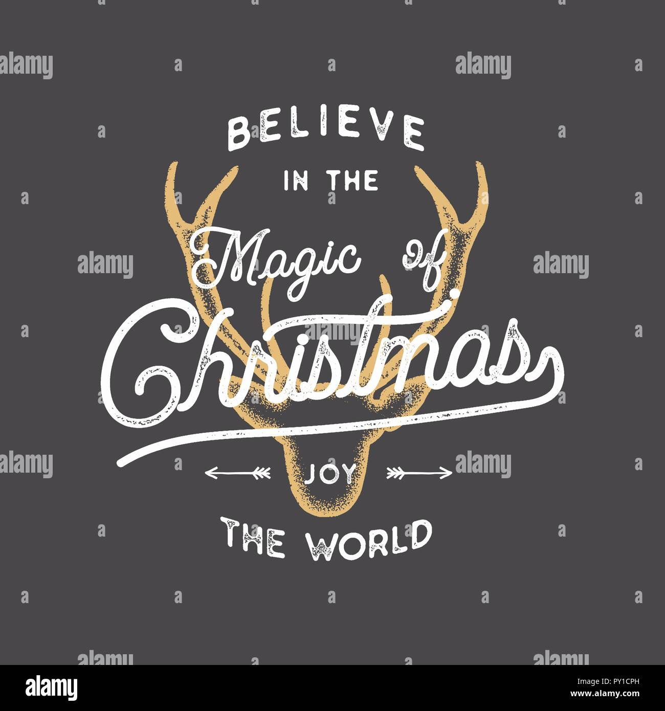 believe in the magic of xmas typography quote wish with deer head new year lettering sayings vintage labels seasonal greetings calligraphy