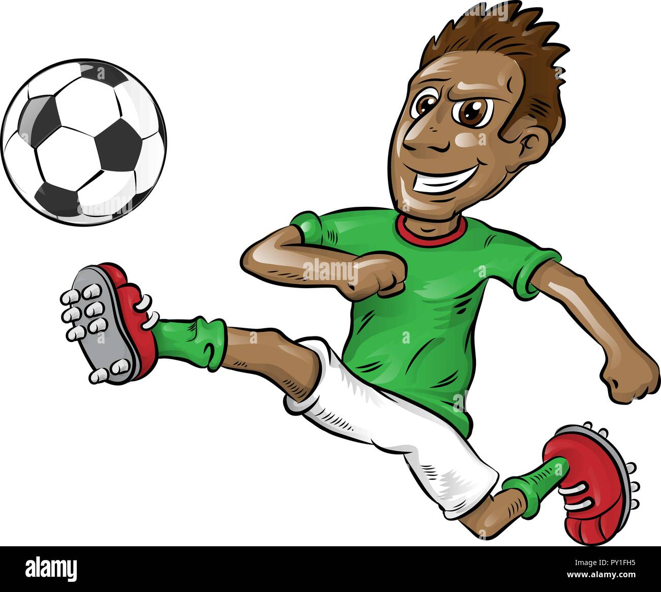 fun nigerian soccer player cartoon isolated on white - Stock Vector