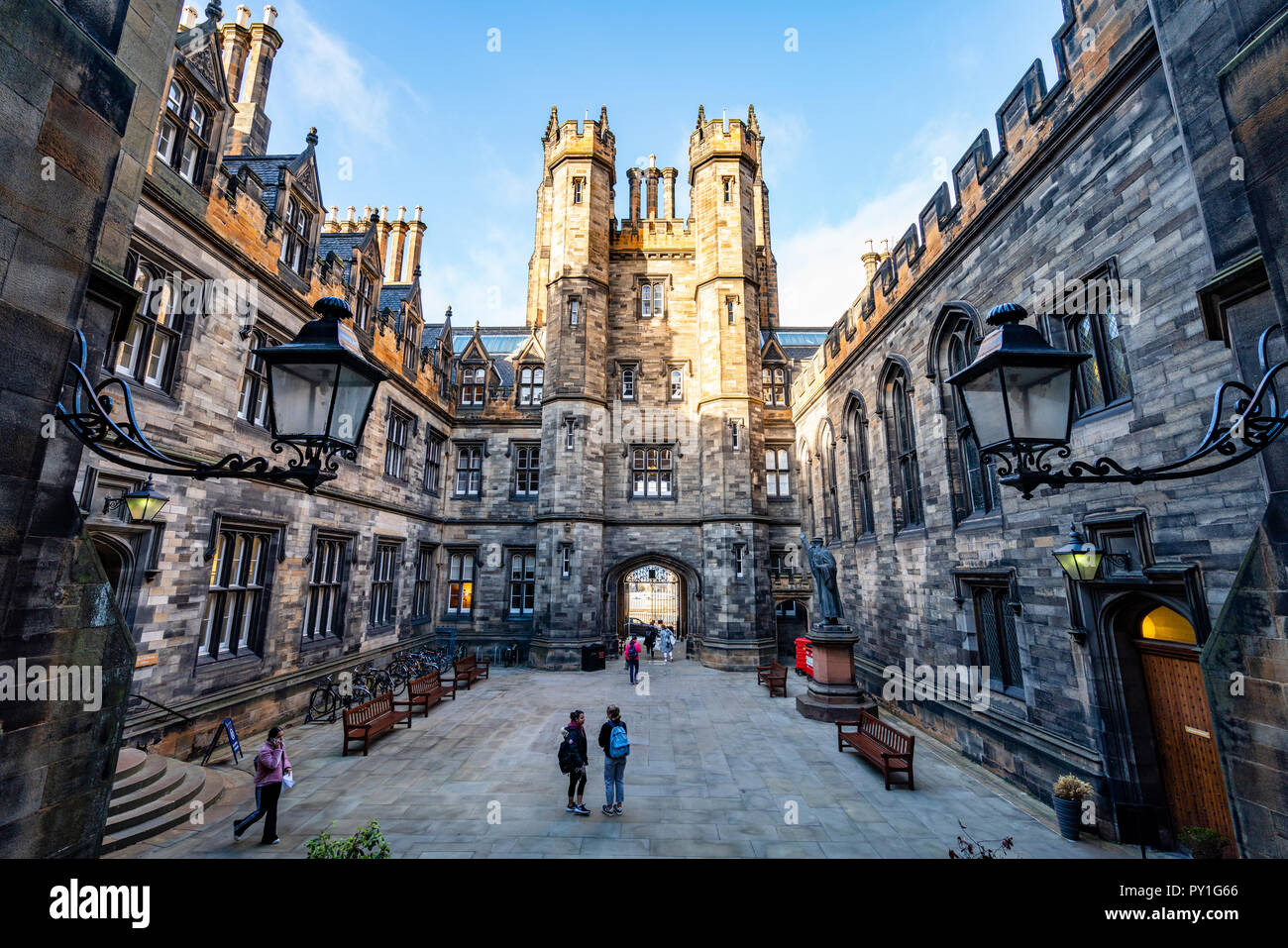 View of the courtyard of New College at the University of Edinburgh, the Faculty of Divinity, on The Mound in Edinburgh Old Town, Scotland, UK - Stock Image