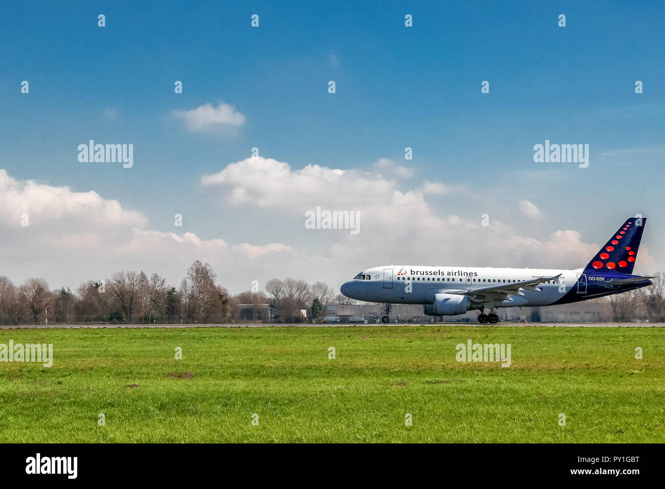 Milan, Italy - 16 March 2018: Brussels Airlines airplane taking off on runway - Stock Image