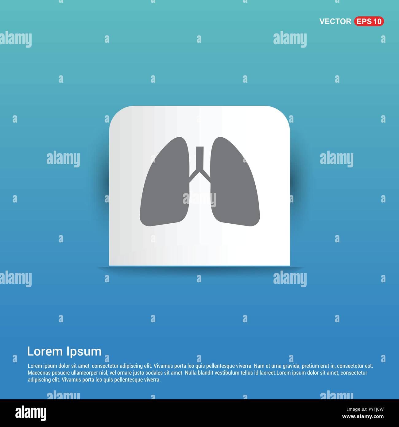 lungs, icon, - Blue Sticker button - Stock Vector