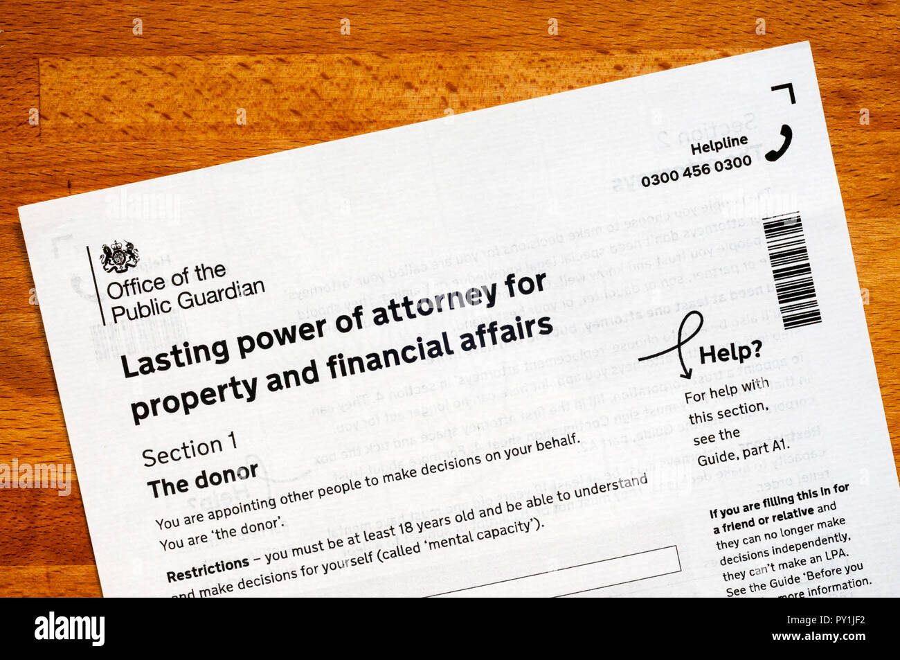 Lasting Power of Attorney for property and financial affairs. - Stock Image