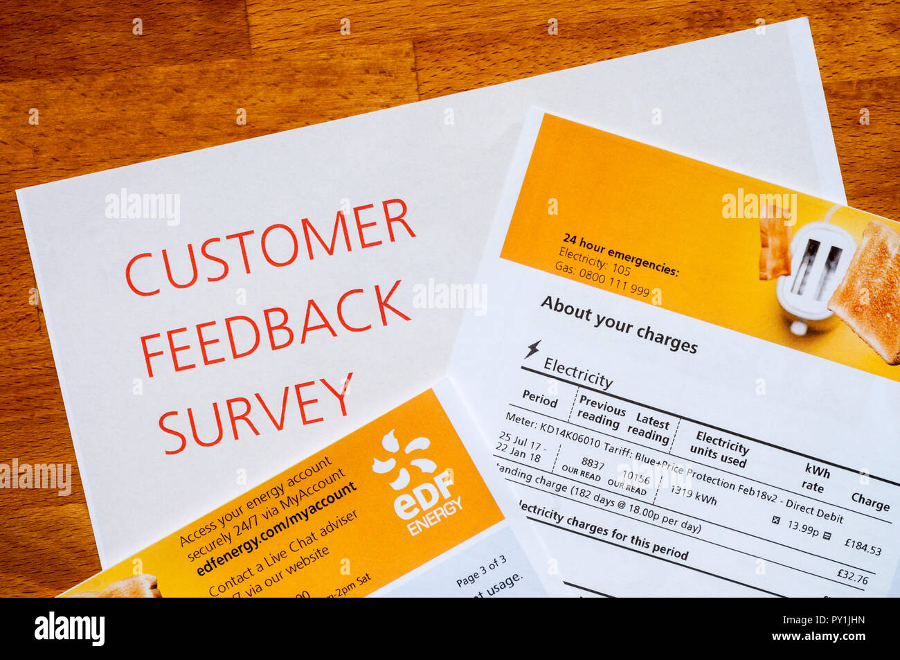 An EDF Customer Feedback Survey enclosed with a bill.  NB Personal data has been anonymised. - Stock Image