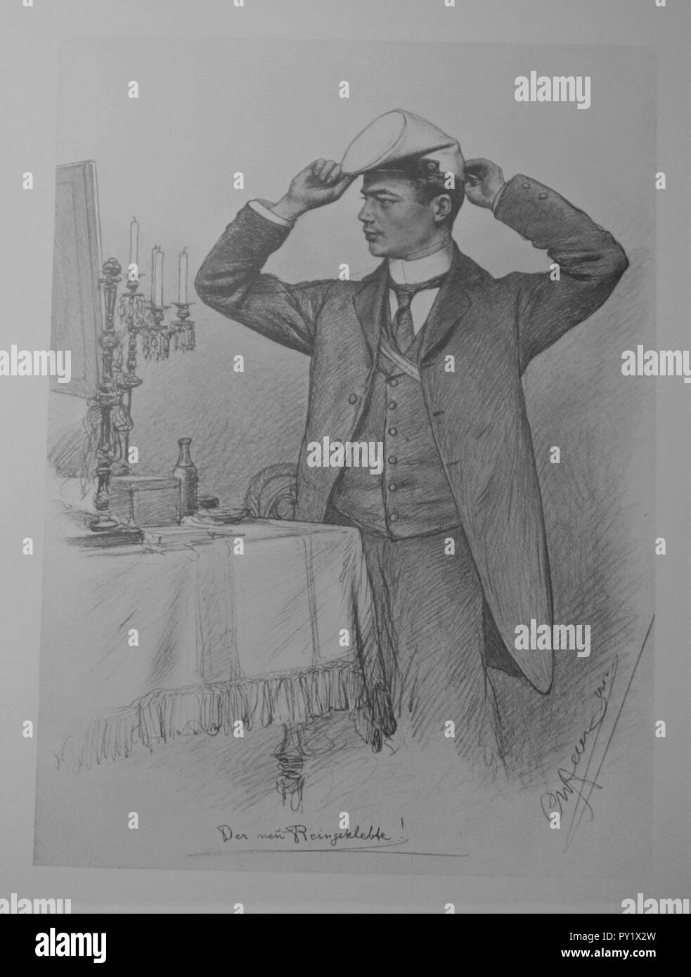 C. W. Allers - Junger Corpsstudent mit Stürmer, 1903. - Stock Image