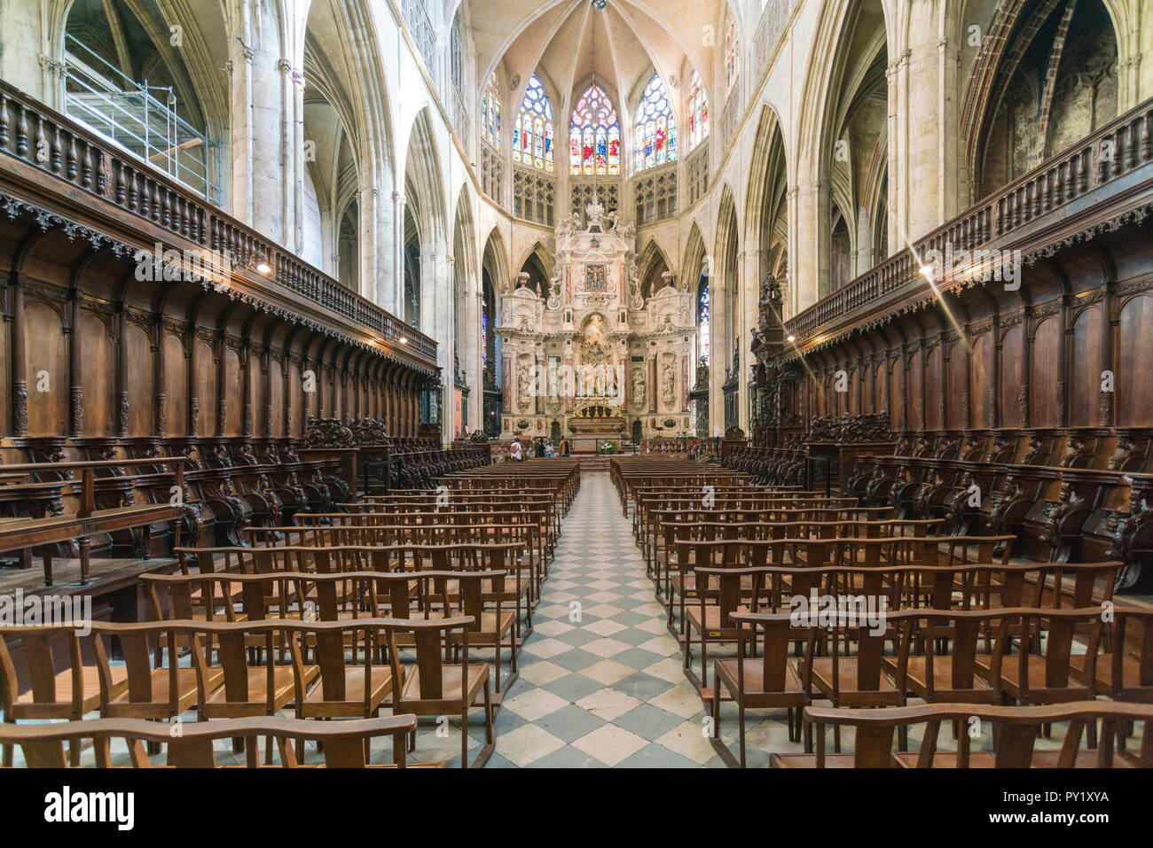 Interior of St Stephan's Toulouse Cathedral, Toulouse, Occitanie, France - Stock Image