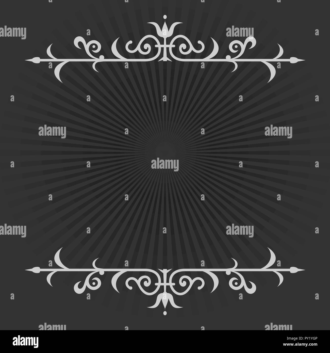 Vignette on a black and white retro background in silent film style. Calligraphic design element. Old movie vintage style. Vector illustration - Stock Vector