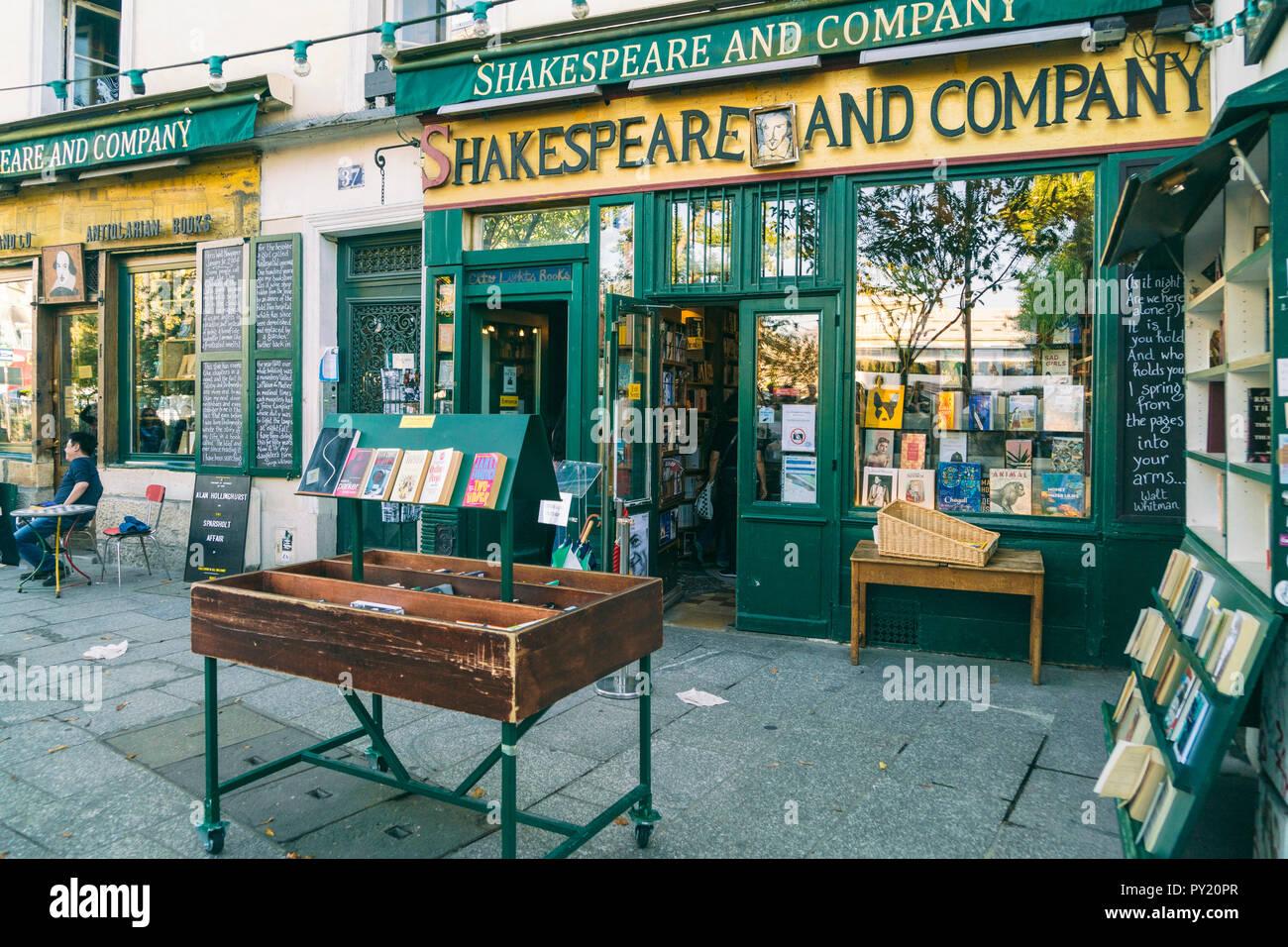 Shakespeare and company bookstore at Quartier de la Sorbonne which is 20th administrative district or quartier of Paris, Ile-de-France, France Stock Photo