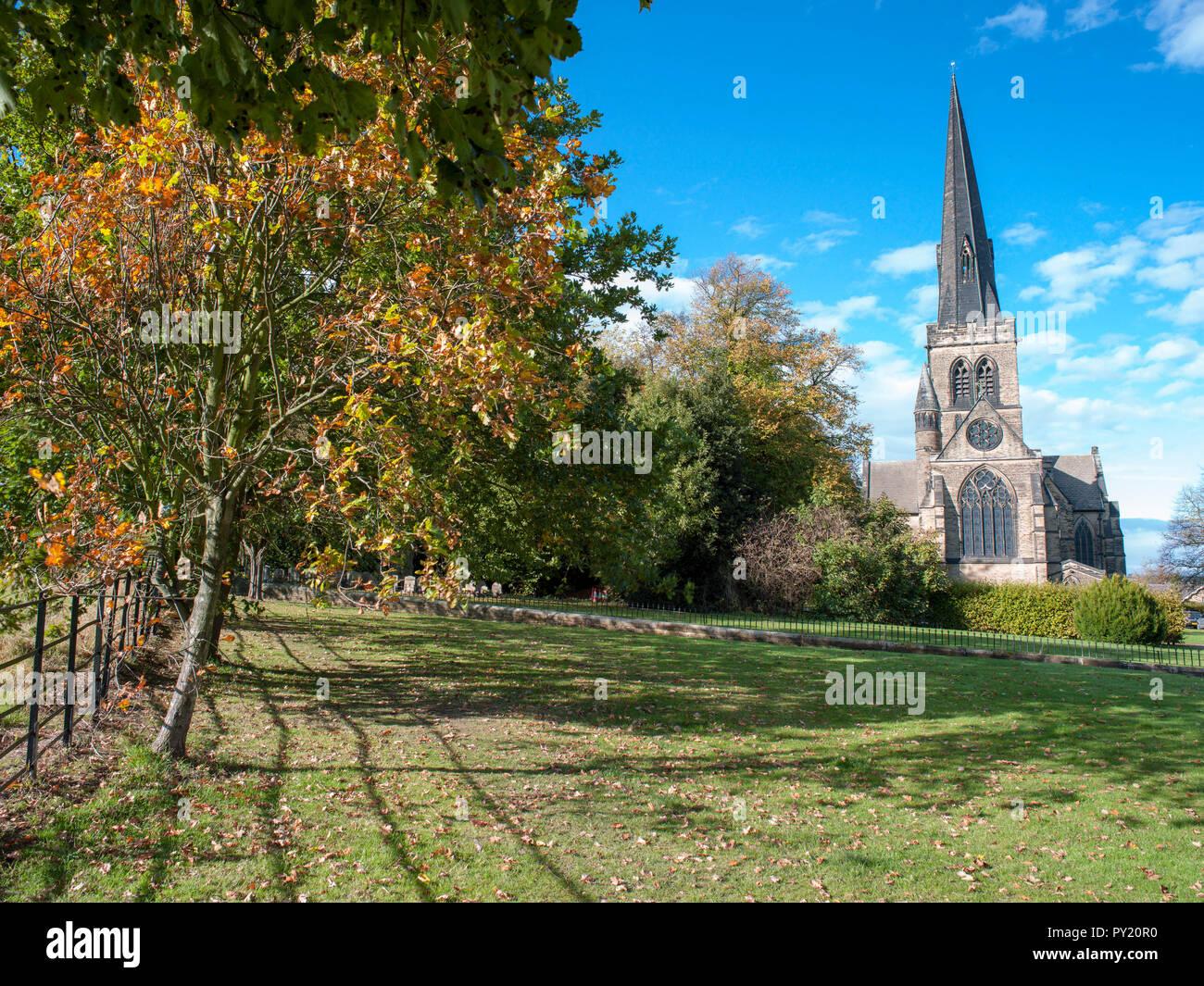 Holy Trinity Parish Church Wentworth, south yorkshire, England in the autumn sunshine - Stock Image