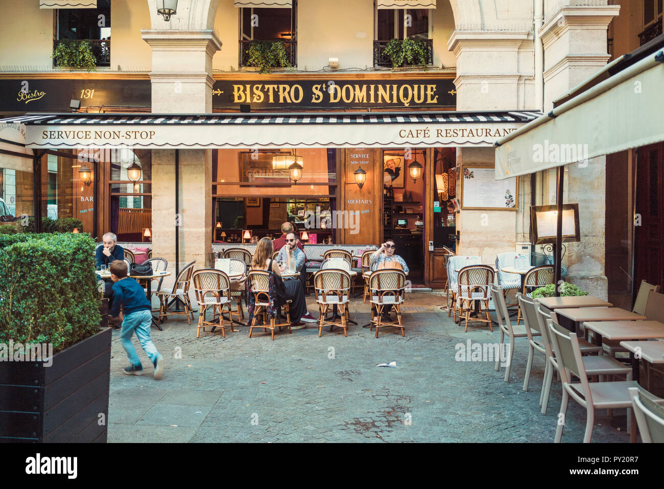 Front view of cafe at University street in Paris, Ile-de-France, France - Stock Image