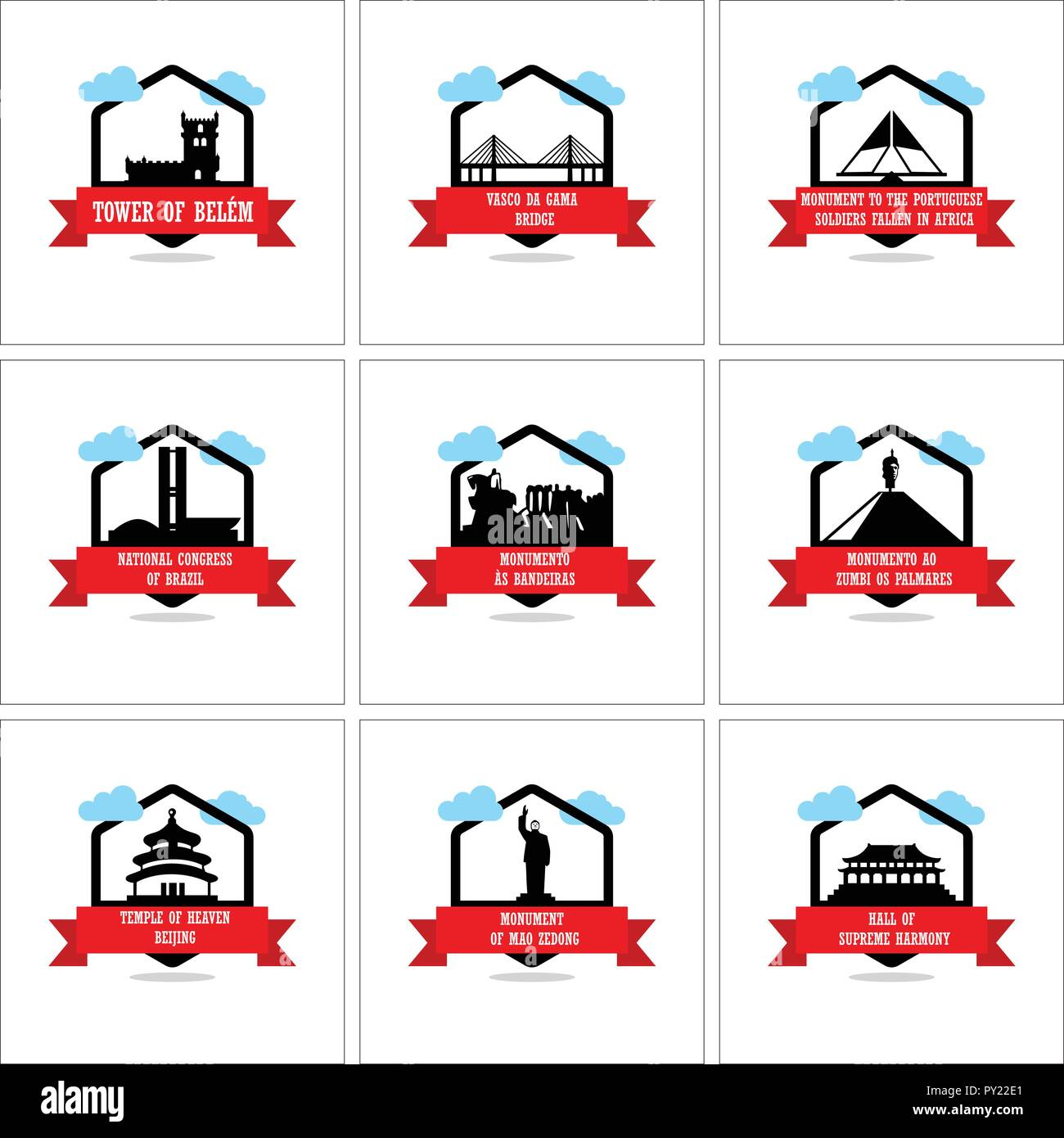 a9aebc26a9c Worlds Famous monuments and landmarks icons set vector - Stock Image