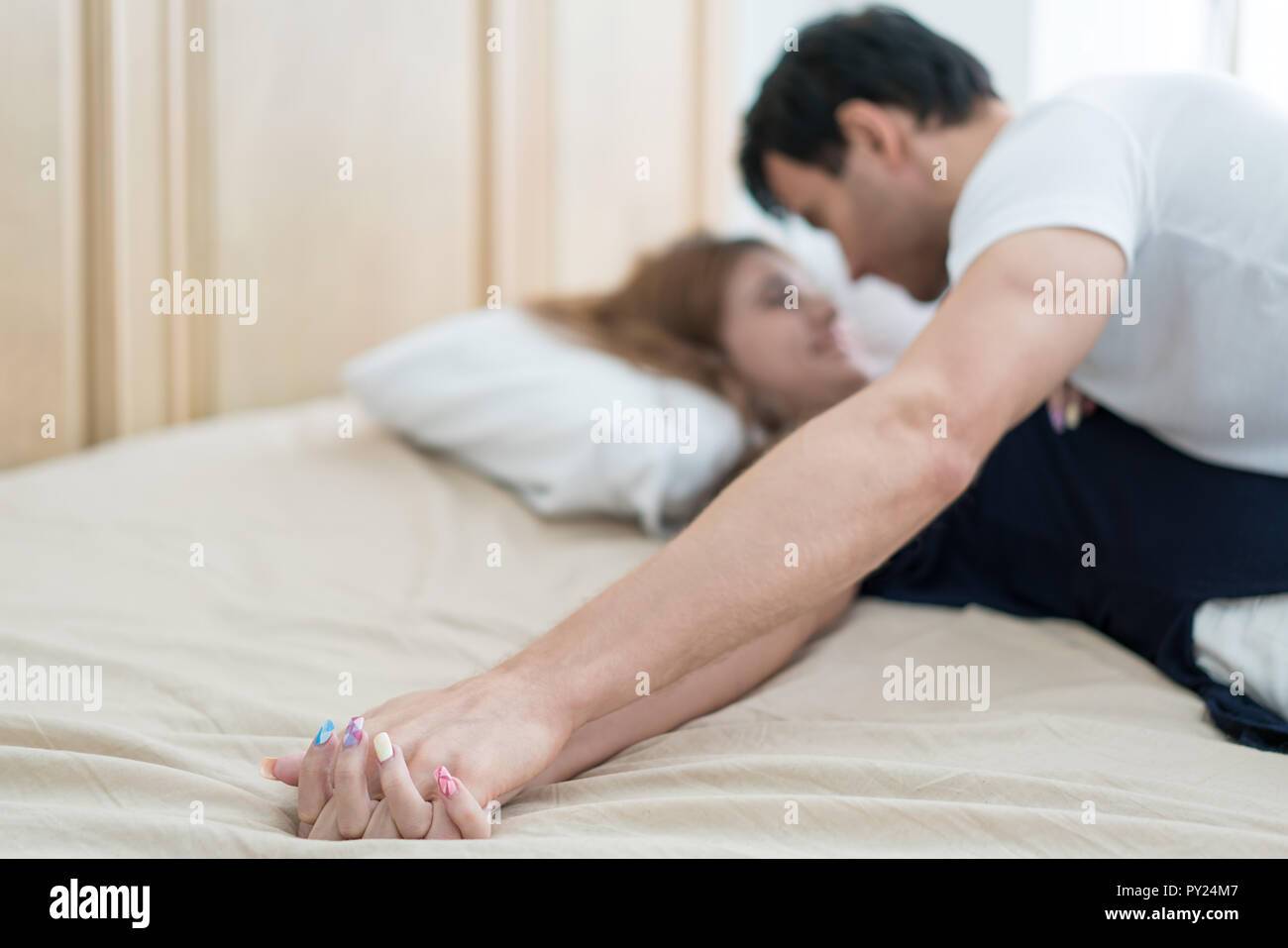 Young Love Couple In Bed Romantic Scene In Bedroom Sensual Lovers Making Love In Bedroom Stock Photo Alamy