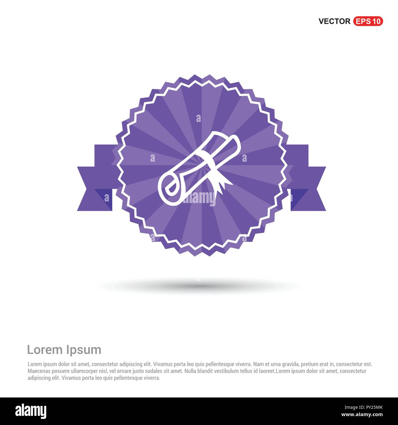 Scholarship stamp Icon - Purple Ribbon banner - Stock Vector
