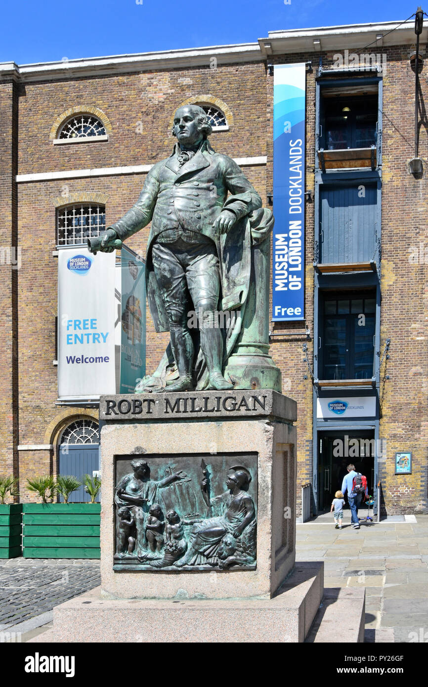 Statue Robert Milligan at Museum of London Docklands both linked to history of London River Thames & growth of Docklands in West India Docks Poplar UK - Stock Image