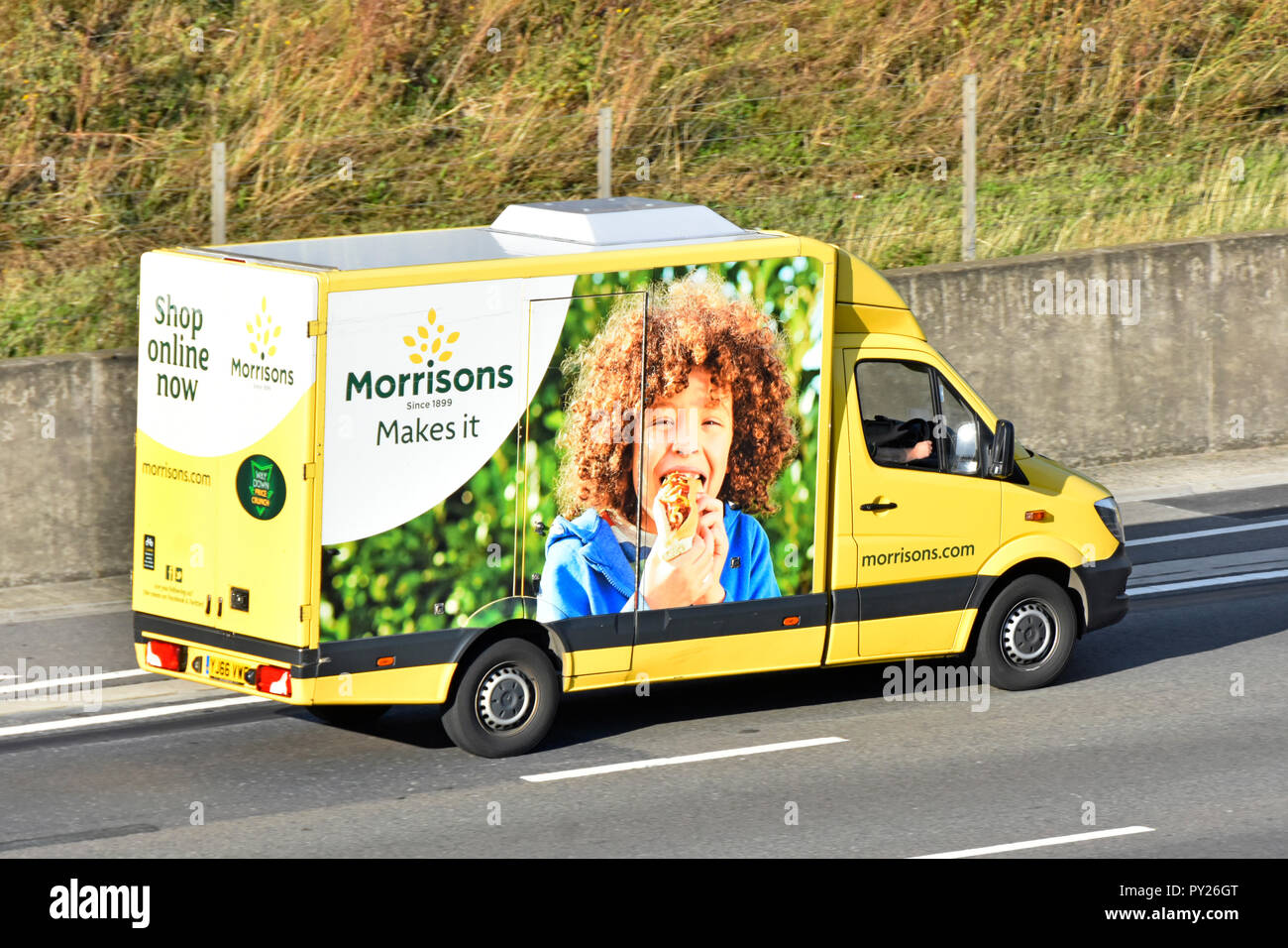 955d73bb33 Side of colourful Morrisons internet food grocery supply chain supermarket delivery  van home supply service to