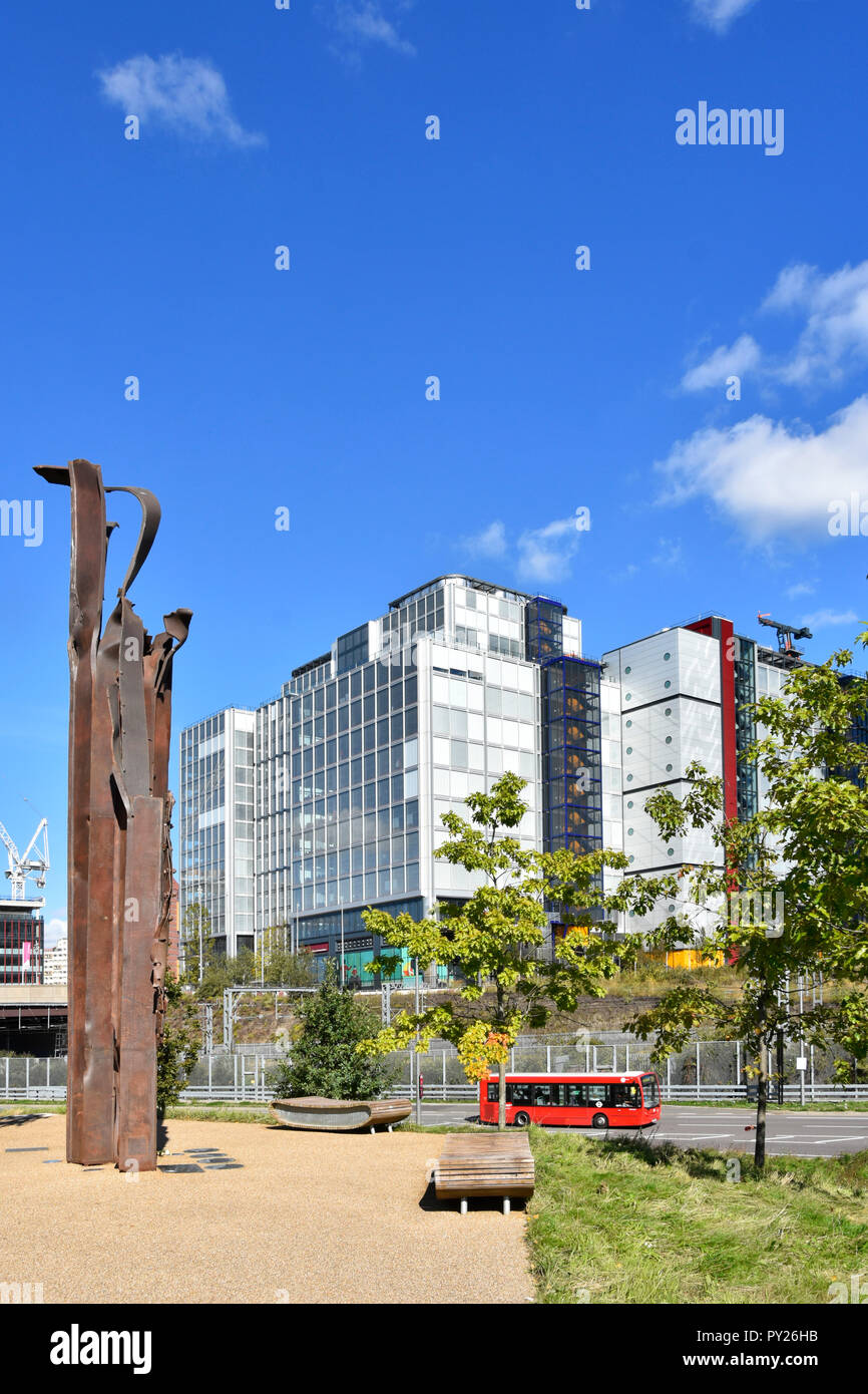 Artwork created from 9/11 Twin Towers attack wreckage in Queen Elizabeth Olympic Park modern office building International Quarter Stratford London UK - Stock Image
