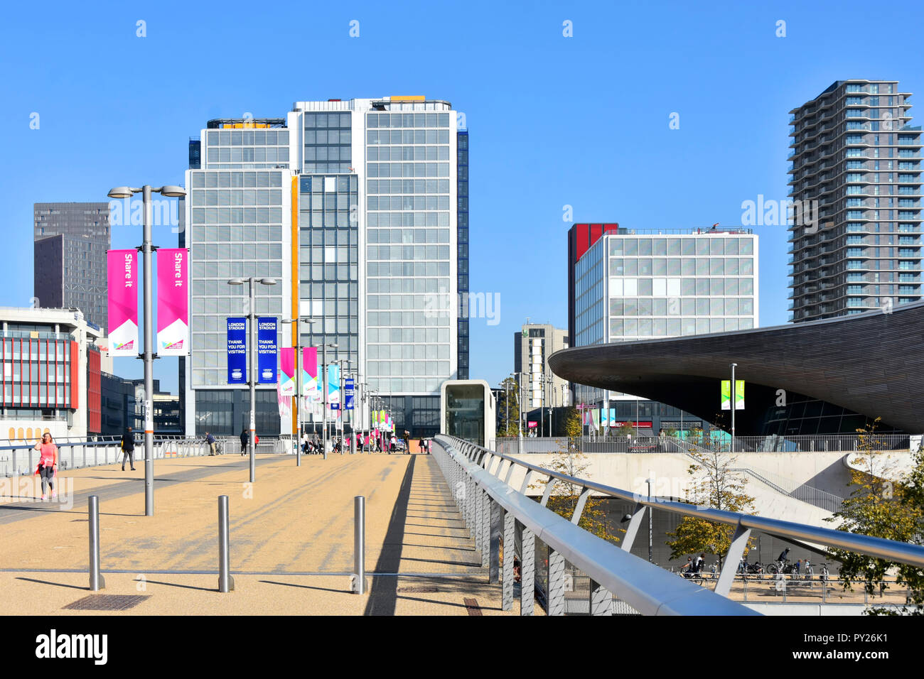 Changing urban landscape & skyline development of office buildings in International Quarter at Westfield in Stratford City & Olympic Park London UK - Stock Image