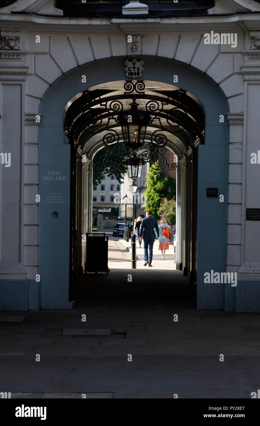 Carey Street entrance to New Square, Lincoln's Inn, Inns of Court, London, UK - Stock Image