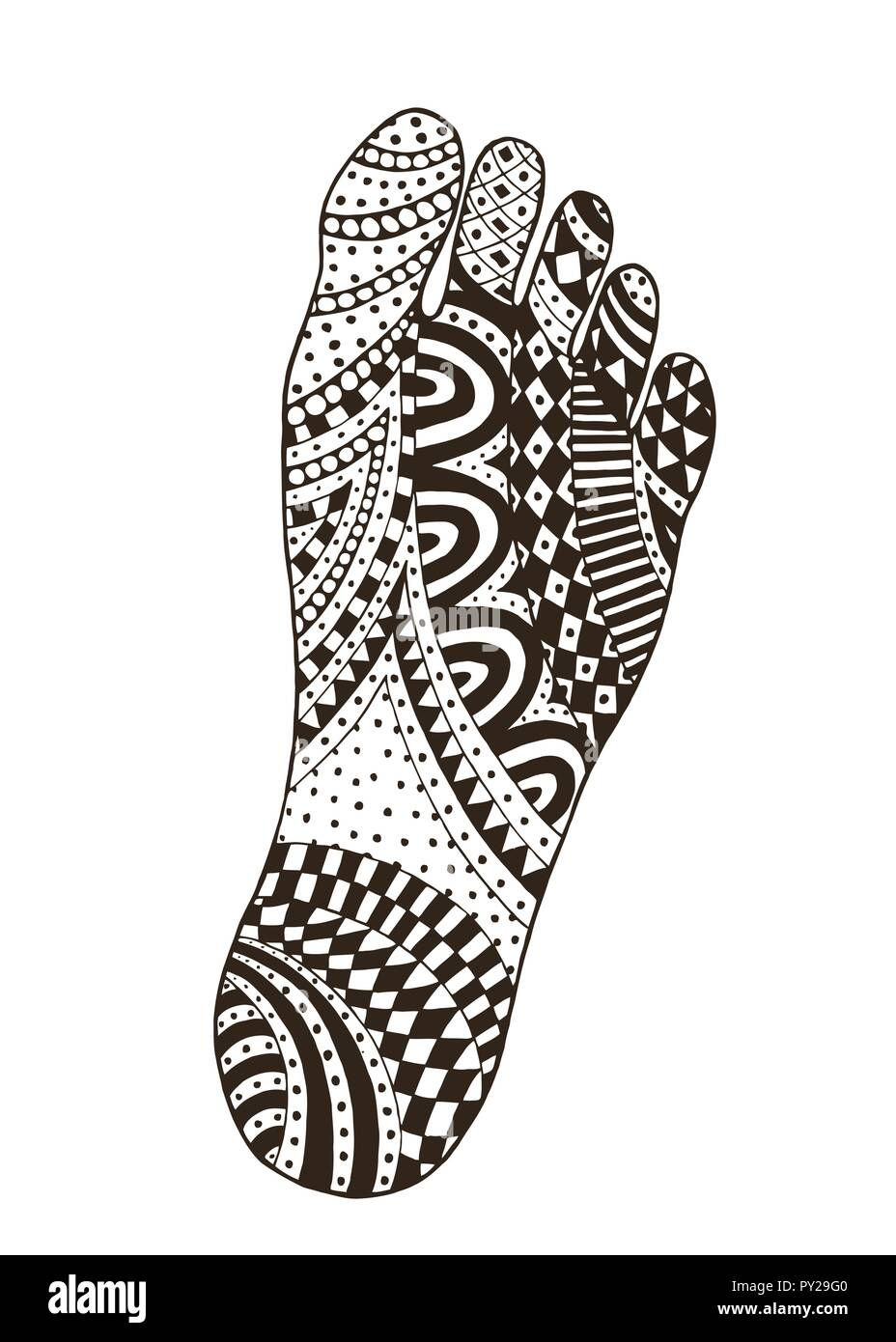 The imprint of the feet. Foot. Tangle pattern footprint illustration. Handmade sole. - Stock Vector
