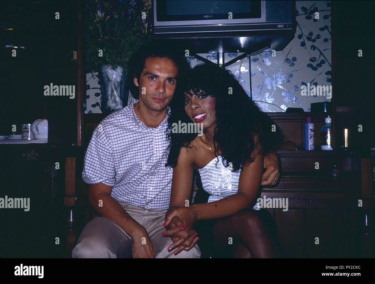 London  UK  LIBRARY  Early 1980s  Donna Summer with husband