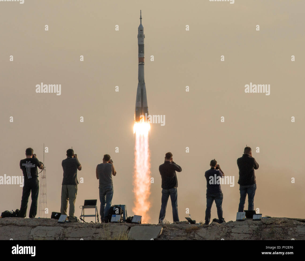 The Soyuz MS-01 spacecraft launches from the Baikonur Cosmodrome with Expedition 48-49 crewmembers Kate Rubins of NASA, Anatoly Ivanishin of Roscosmos - Stock Image
