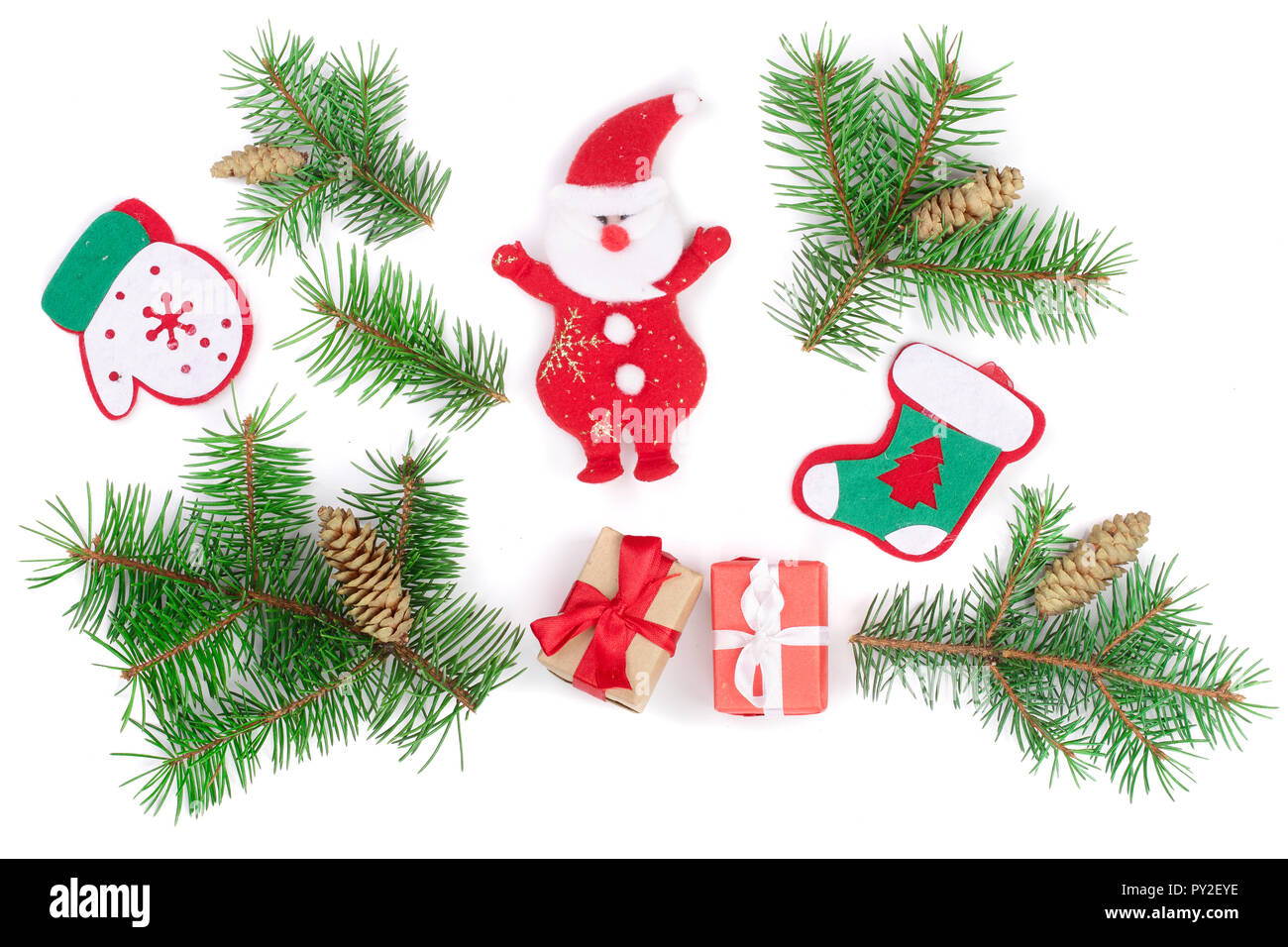 Christmas background with fir branches and Santa Claus isolated on white background. Top view. Flat lay. - Stock Image