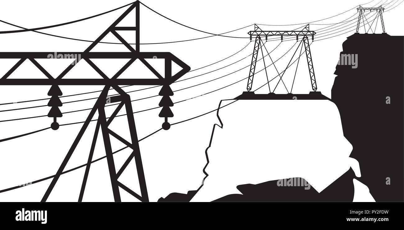 A power line goes through the mountain - vector illustration - Stock Vector