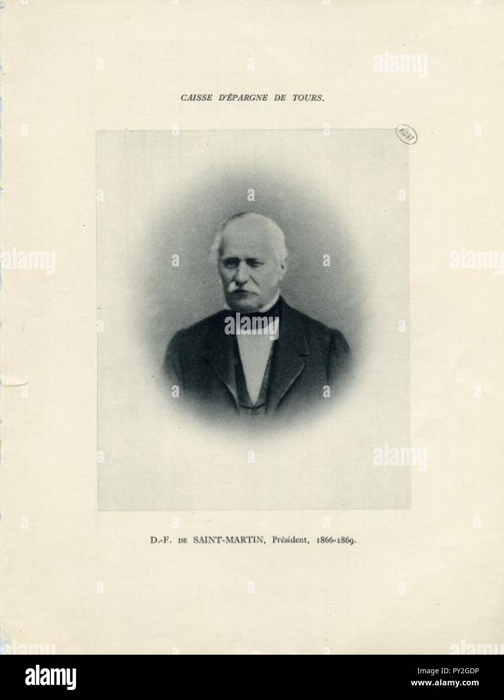 CAISSE D'EPARGNE DE TOURS - D.-F. DE SAINT-MARTIN, Président, 1866-1869. - Stock Image