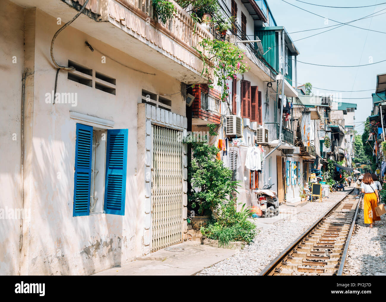 Hanoi train street, old house and railroad in Hanoi, Vietnam - Stock Image