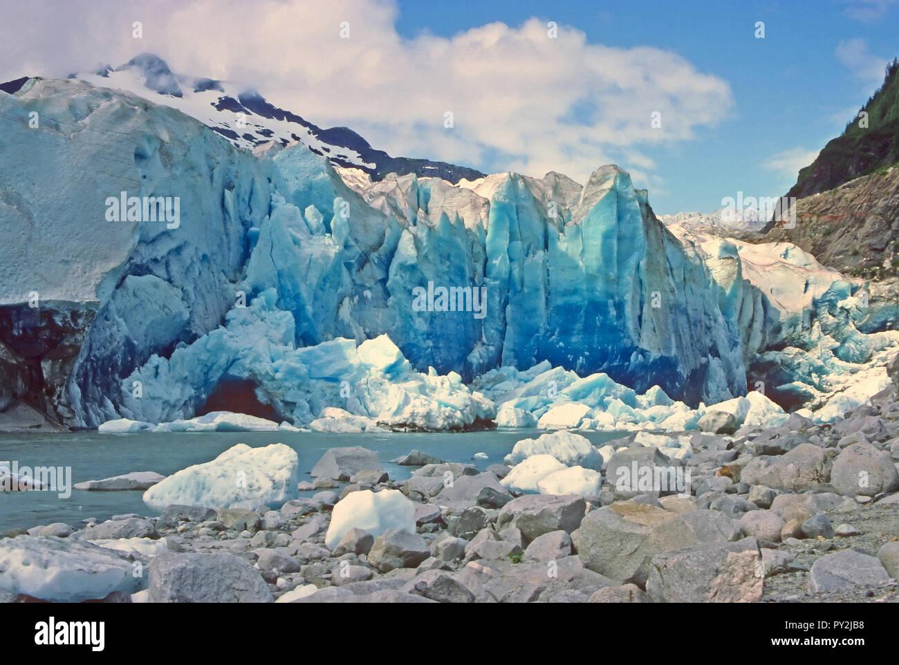 Freshly exposed glacial ice in the Mendenhall Glacier in Alaska - Stock Image