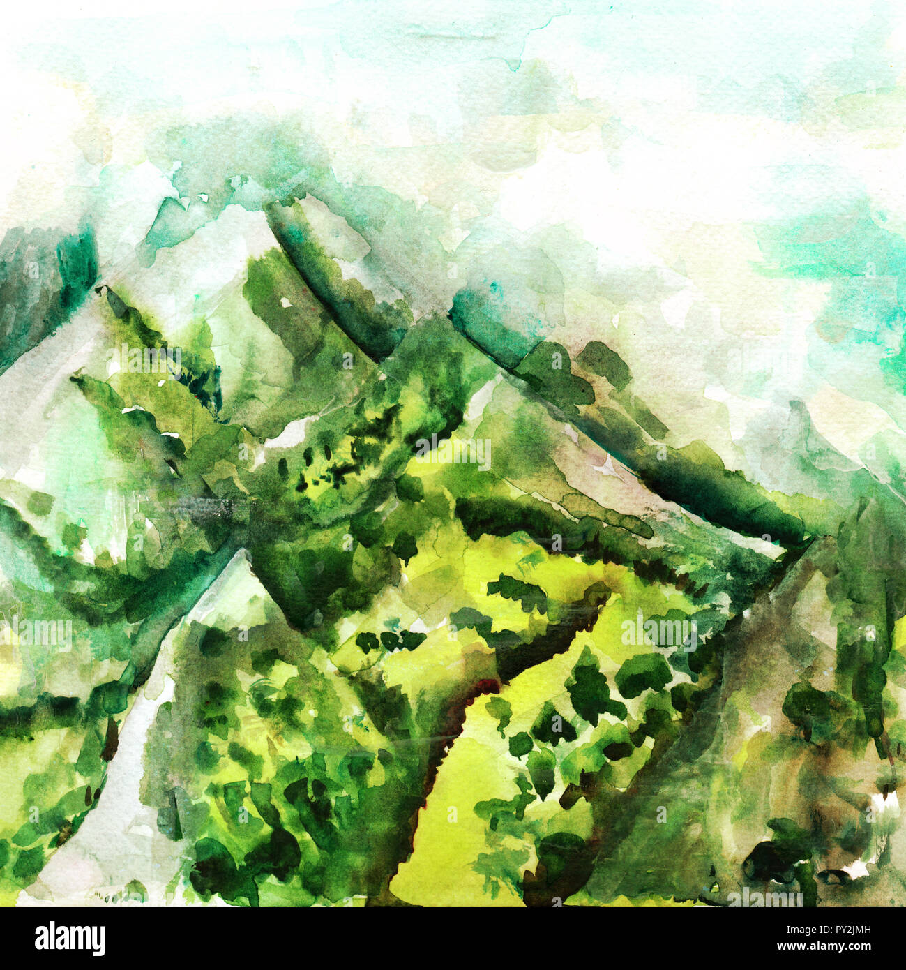 4994e57cd A watercolour landscape painting, a morning view over mountains in teal  blue and green -