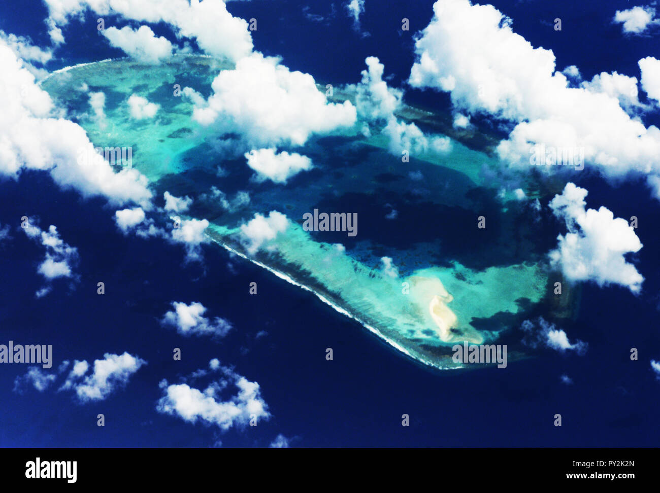 Aerial view of the Paracel islands in the South China Sea. - Stock Image