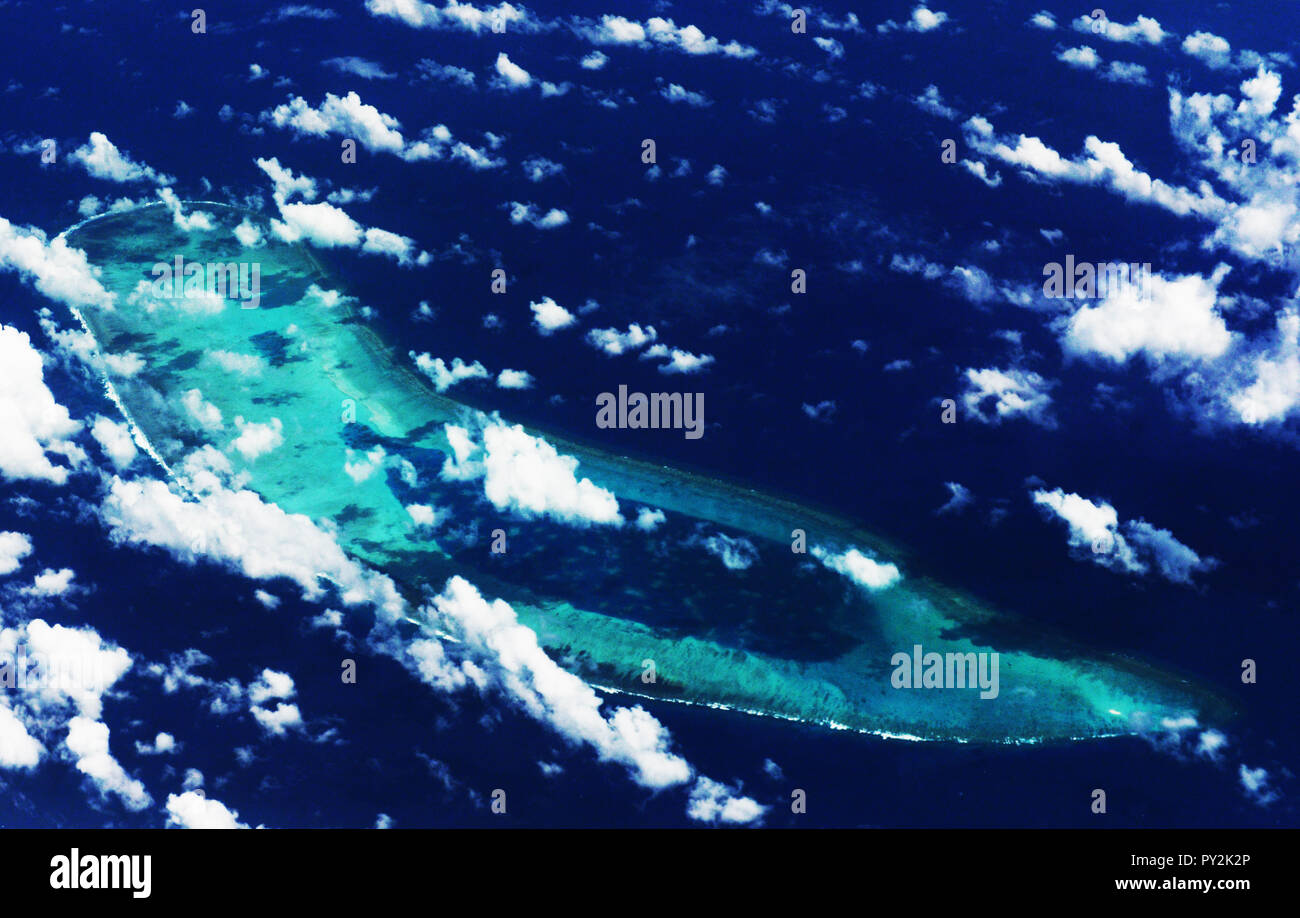 Aerial view of the Antelope reef in the Paracel islands in the South China Sea. - Stock Image
