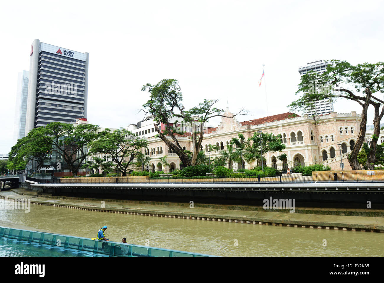 Old British colonial buildings along the Klang river in KL, Malaysia. - Stock Image