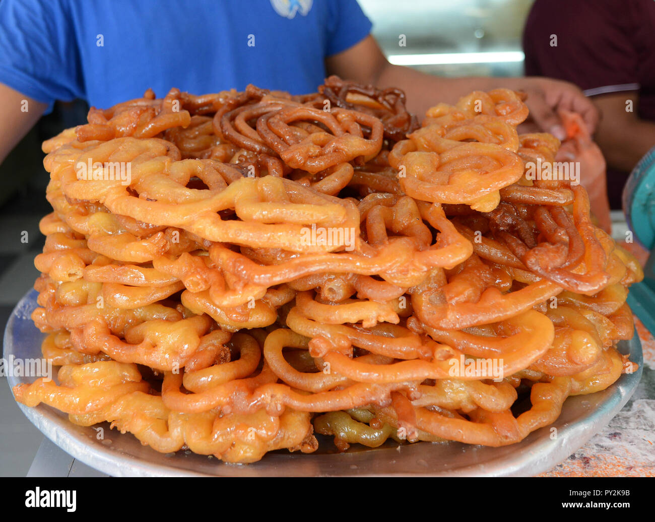 Sweet Jalebi sold in an Indian sweet shop in KL, Malaysia. - Stock Image