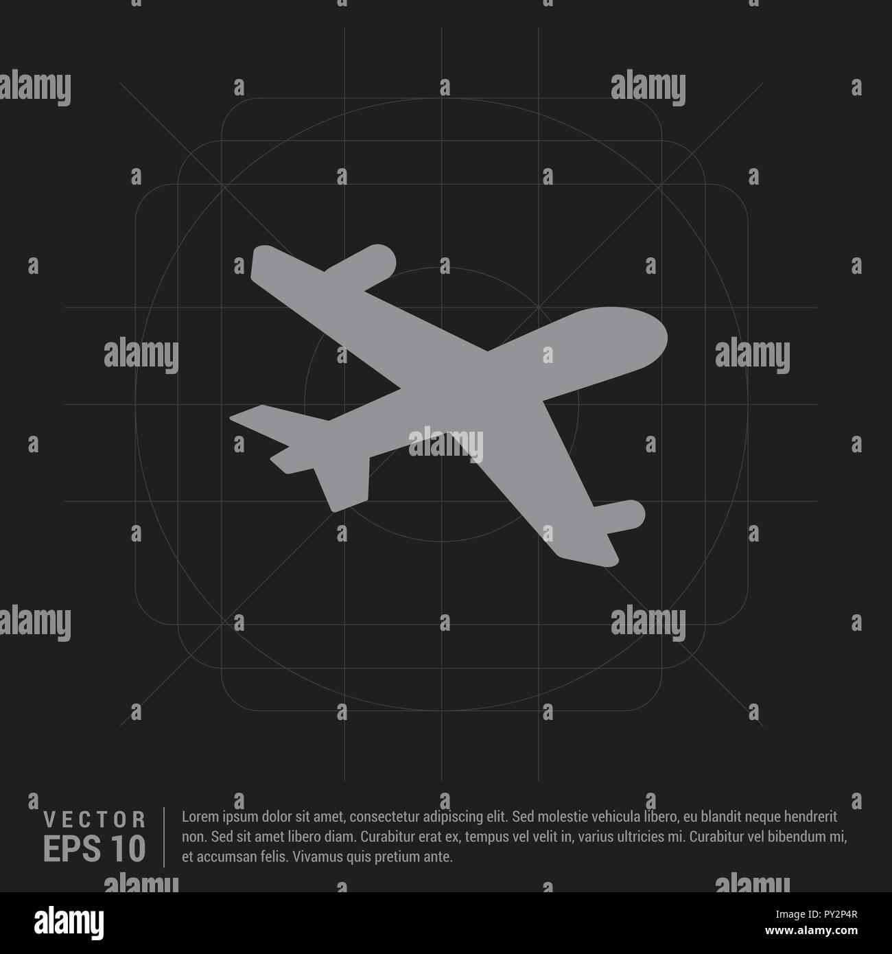 Aeroplane Icon Black Creative Background Free Vector Icon