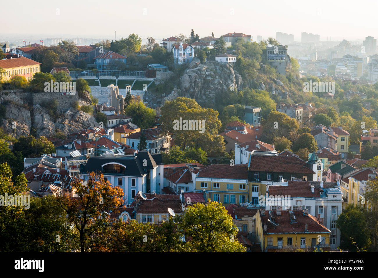 Scenic view of old town Plovdiv, Bulgaira in autumn Stock Photo