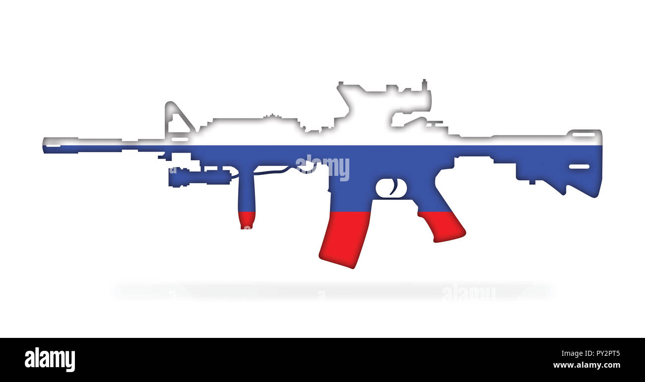 Rifle with Russian flag painted on, isolated on white background 3d illustration - Stock Image