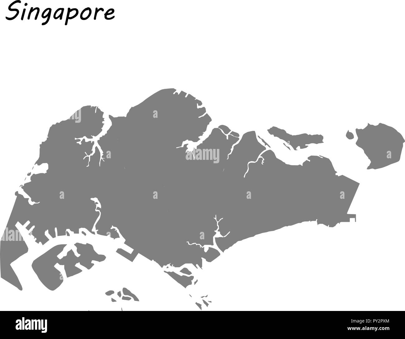 High quality map of Singapore . Vector illustration Stock Vector