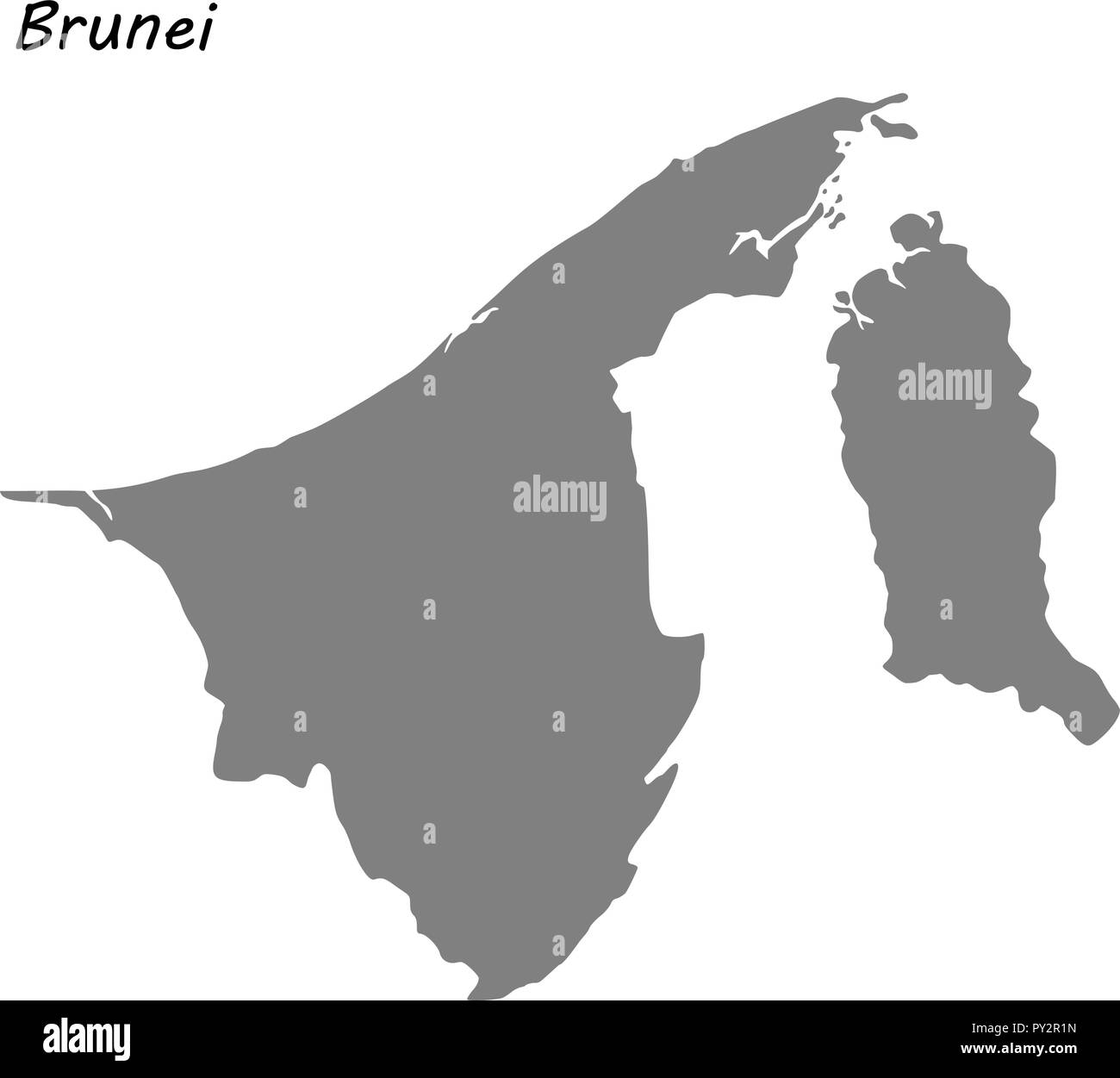 High quality map of Brunei . Vector illustration - Stock Image