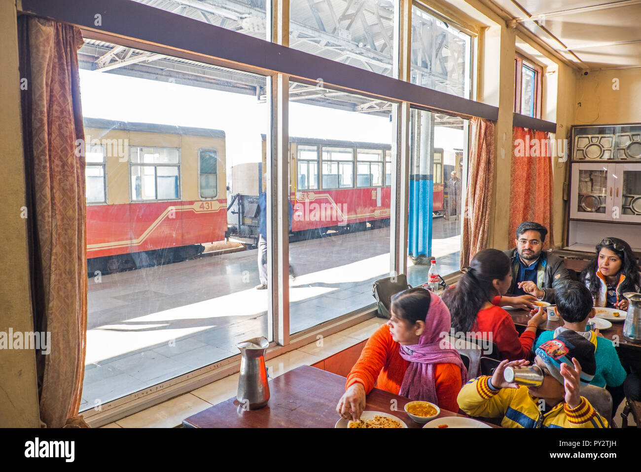 The canteen / cafe at Shimla railway station, India - Stock Image