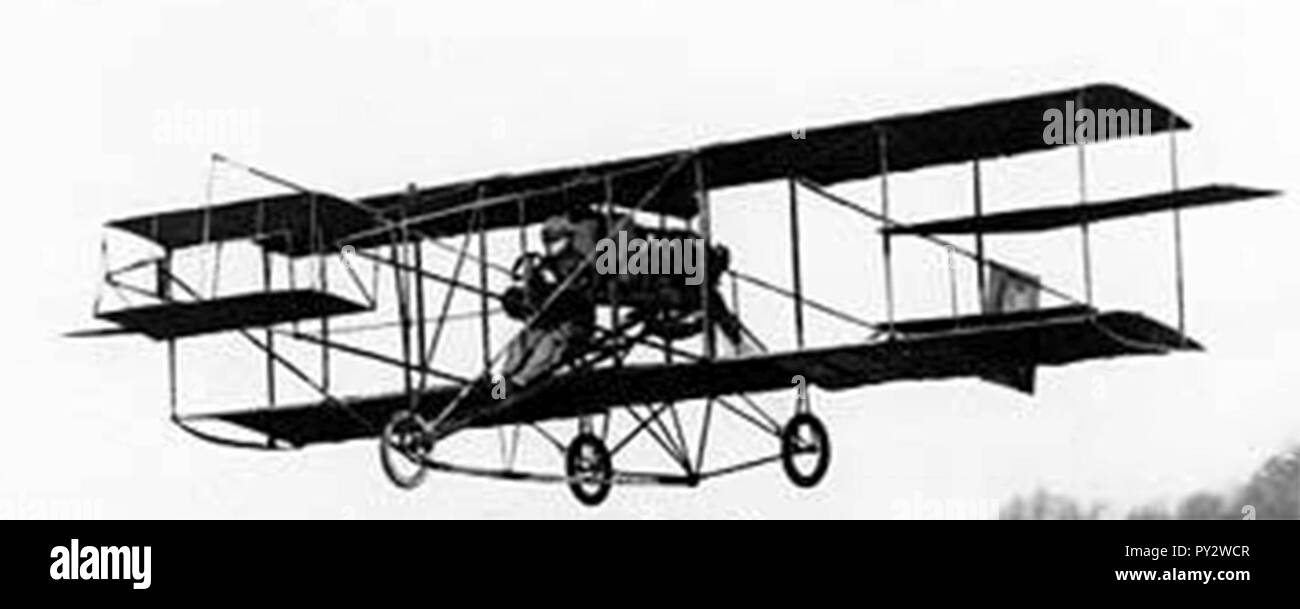 C K Hamilton's first flight at The Meadows 1910-03-11 detail. - Stock Image