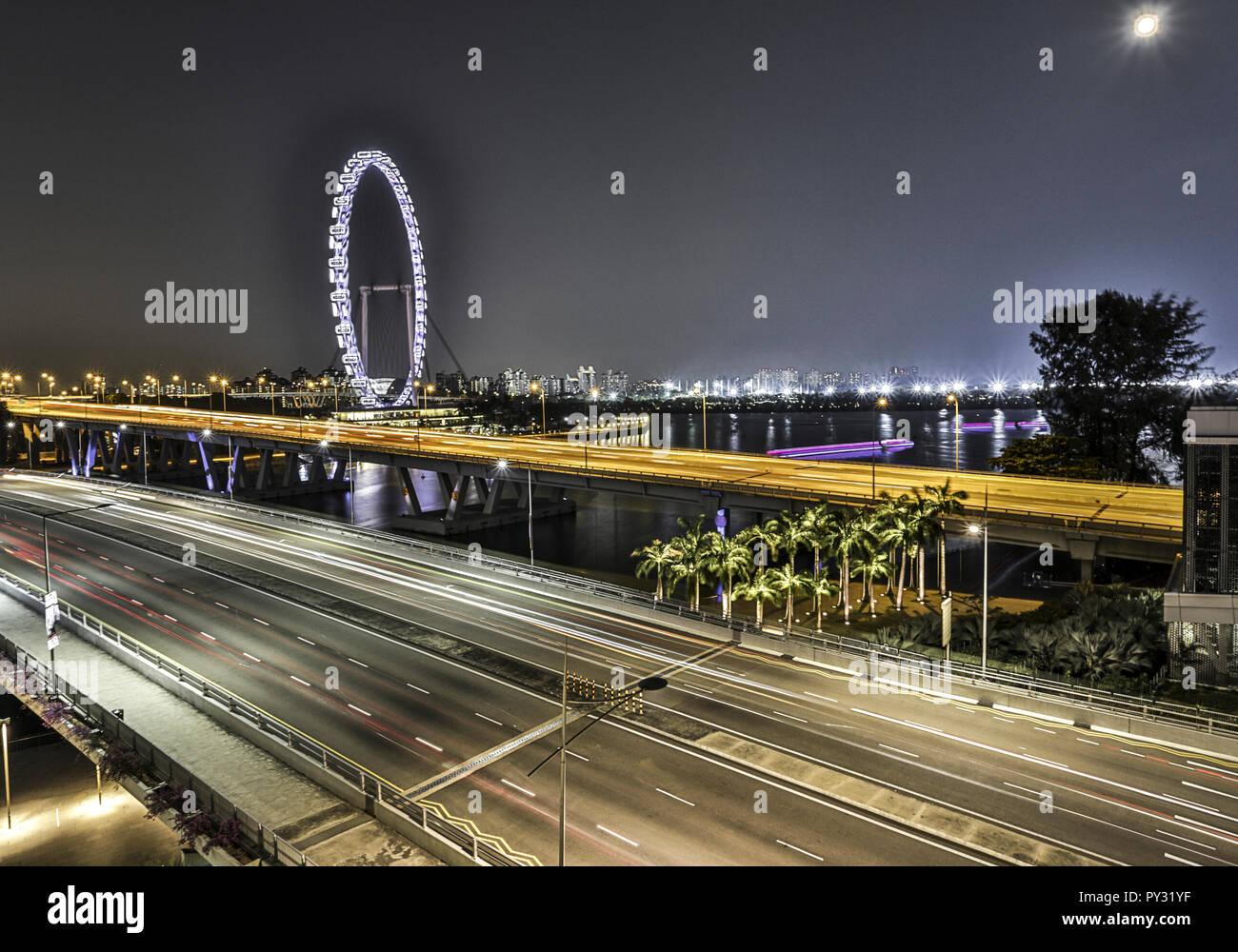 Singapur, Marina Bay, Nachtaufnahme - Stock Image
