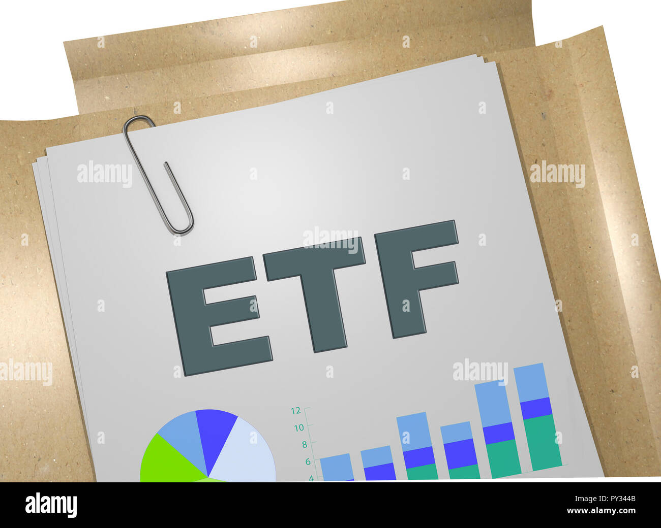 3D illustration of ETF title on business document Stock Photo