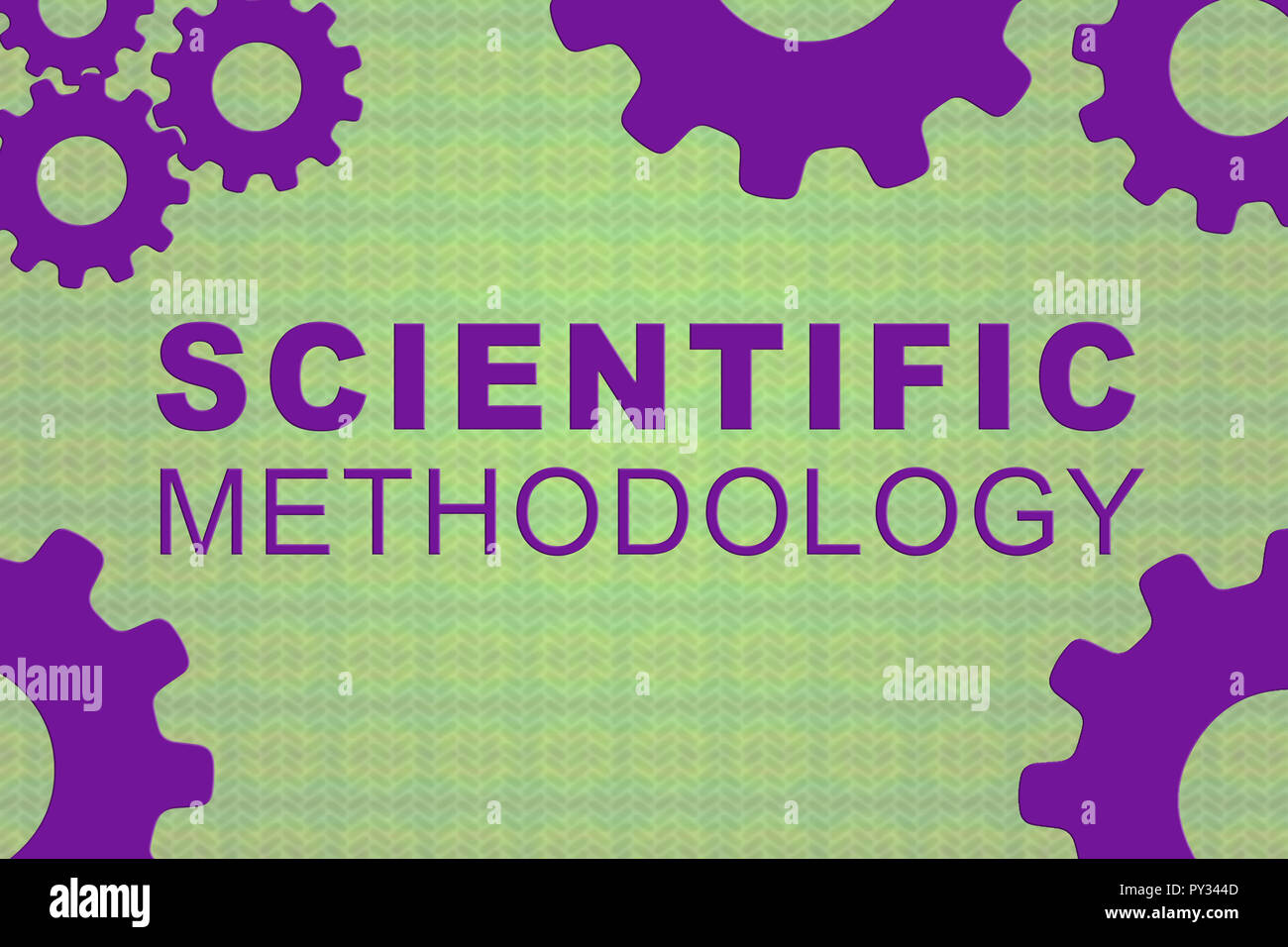 SCIENTIFIC METHODOLOGY sign concept illustration with purple gear wheel figures on colored background - Stock Image