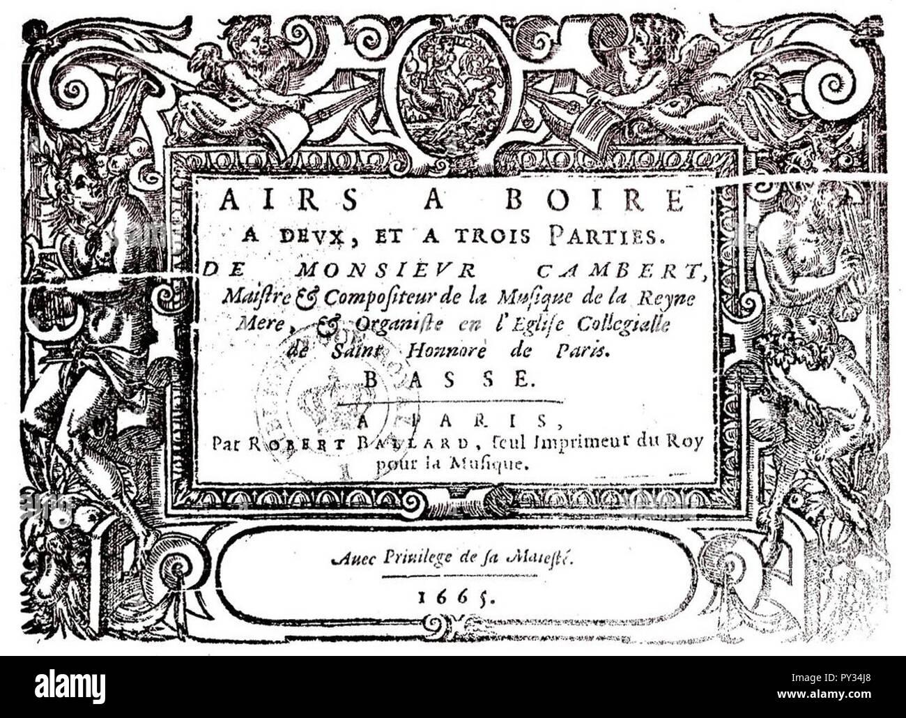 Cambert - Airs 1665. - Stock Image