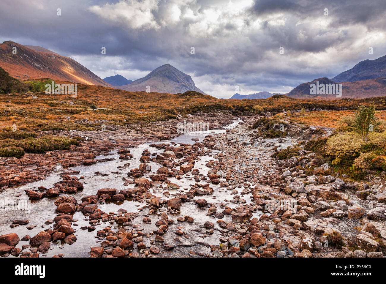 The River Sligachan and the Cuillins, Isle of Skye, Inner Hebrides, Highland, Scotland, UK - Stock Image