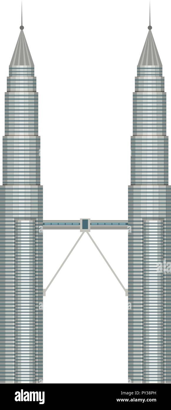 A Malasia Petronas Kuala Lumpur illustration - Stock Vector
