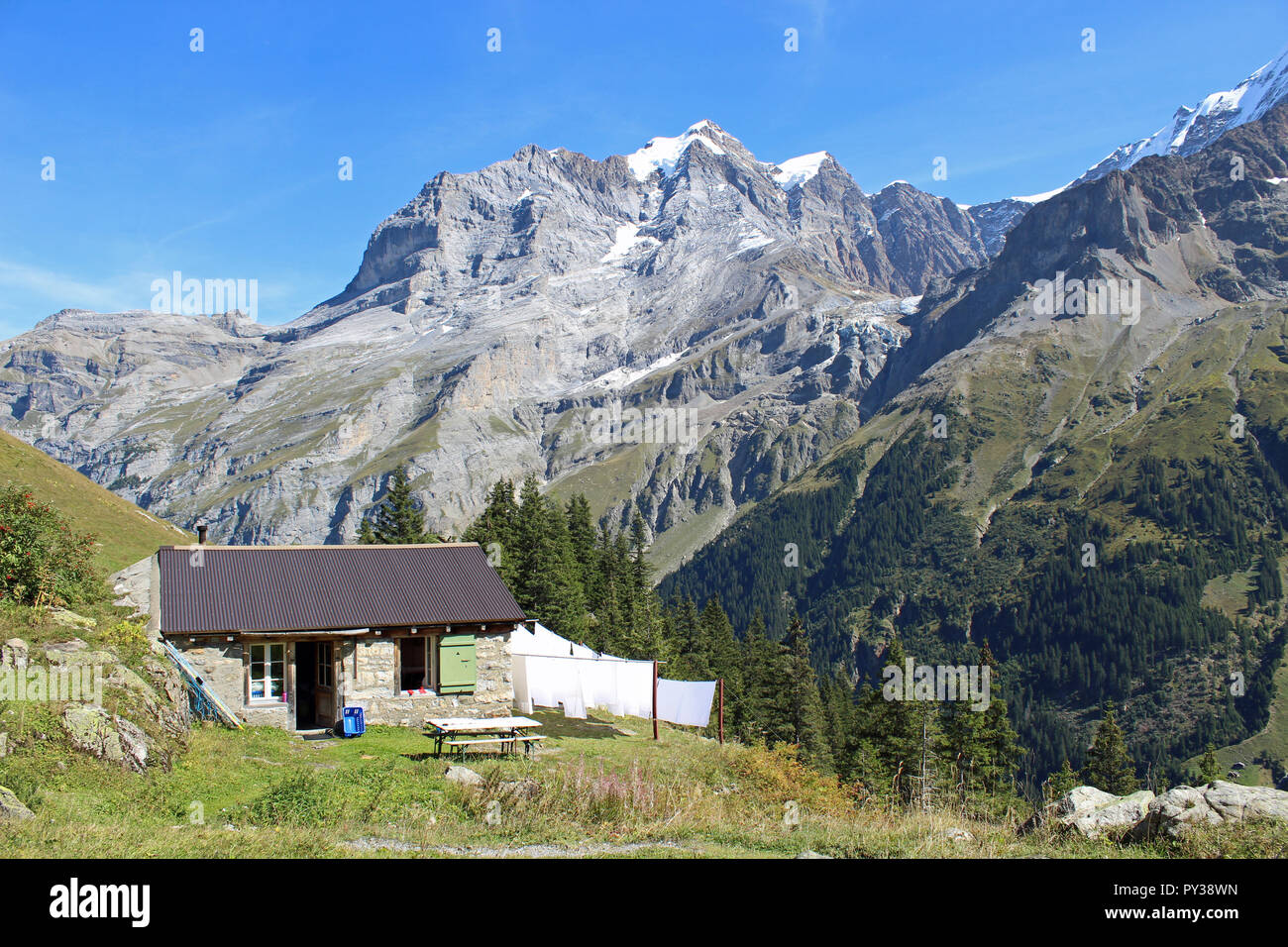 Laundry drying at the remote Obersteinberg alp in upper Lauterbrunnen Valley, Jungfrau region, Switzerland. Can be reached only on foot - 2 hours hike Stock Photo
