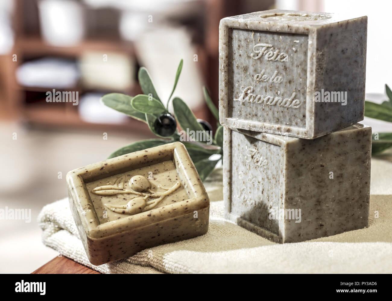 Seifenstuecke mit Olivenoel Stock Photo