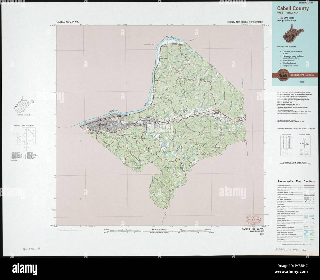 Cabell County West Virginia 1 100 000 Scale Topographic Map Stock